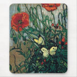 Van Gogh Poppies and Butterflies (F748) Fine Art Mouse Pad