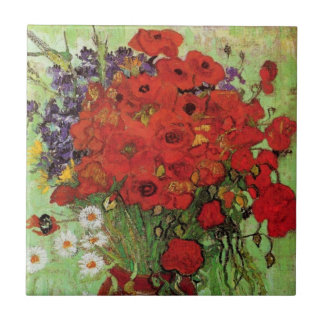 Van Gogh Red Poppies and Daisies Tile
