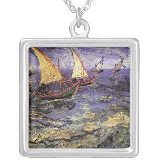 Van Gogh Seascape at Saintes Maries, Fine Art Silver Plated Necklace