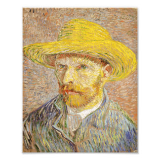 Van Gogh Self Portrait with Straw Hat Print Photographic Print