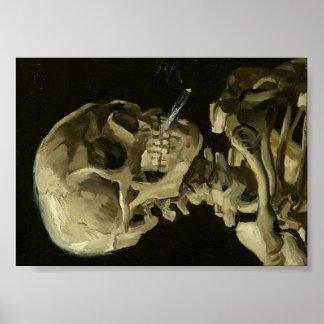Van Gogh Skull of Skeleton with Burning Cigarette Poster