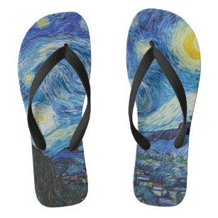 Van Gogh Starry Night. Impressionism vintage art Jandals