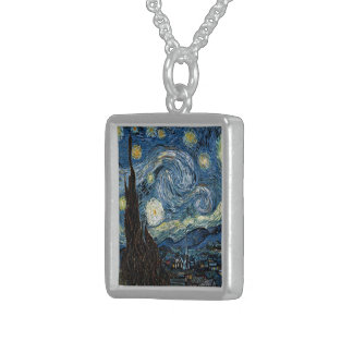 Van Gogh Starry Night Sterling Silver Necklace