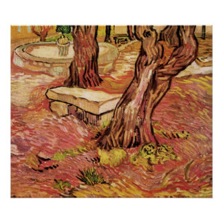 Van Gogh Stone Bench in Garden, St Paul Hospital Poster