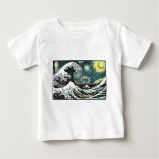 Van Gogh The Starry Night - Hokusai The Great Wave Baby T-Shirt