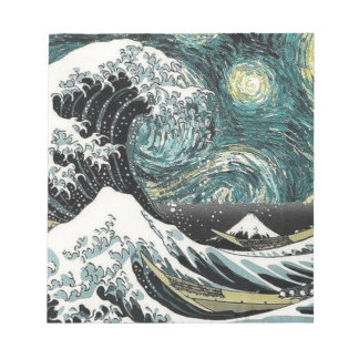 Van Gogh The Starry Night - Hokusai The Great Wave Notepad