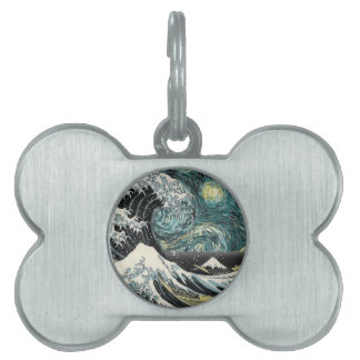 Van Gogh The Starry Night - Hokusai The Great Wave Pet Name Tag