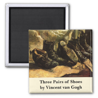 Van Gogh; Three Pairs of Shoes, Vintage Still Life Square Magnet