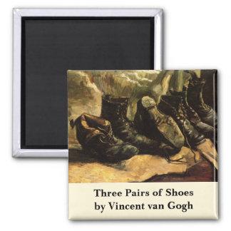 Van Gogh; Three Pairs of Shoes, Vintage Still Life Square Magnet
