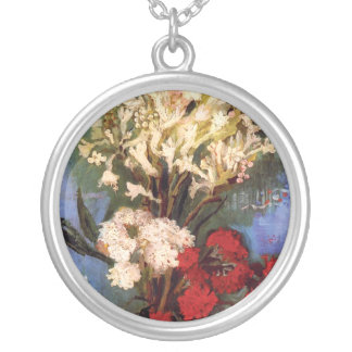 Van Gogh - Vase With Carnations And Other Flowers Silver Plated Necklace