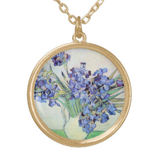 Van Gogh Vase with Irises, Vintage Floral Fine Art Gold Plated Necklace