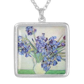 Van Gogh Vase with Irises, Vintage Floral Fine Art Silver Plated Necklace