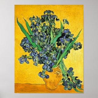 Van Gogh - Vase with Irises Yellow Background Poster
