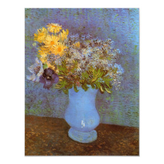 Van Gogh Vase with Lilacs, Daisies and Anemones 11 Cm X 14 Cm Invitation Card