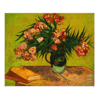 Van Gogh Vase With Oleanders And Books Floral Art Photograph