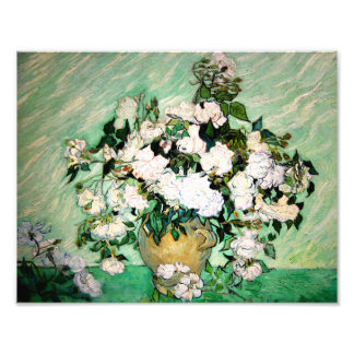 Van Gogh Vase with Pink Roses Print