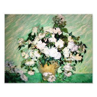 Van Gogh Vase with Pink Roses Print Art Photo
