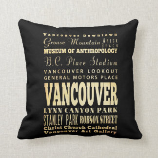 Vancouver City of Canada Typography Art Cushion