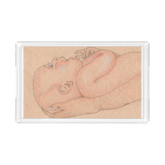 Vanity tray with 'Baby Held In Loving Arms' image