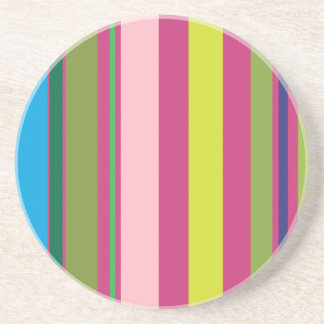 Varied Stripes/Pink Magenta Yellow Blue & Green Coaster