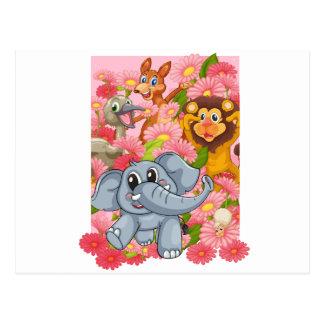 various animals postcard