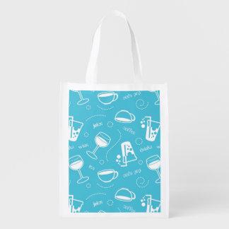 Various drinks reusable grocery bag