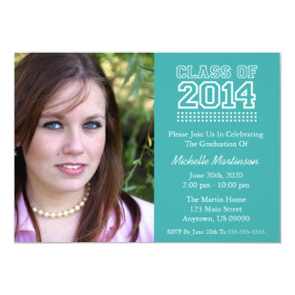 Varsity Class Of 2014 Graduation (Aqua) 5x7 Paper Invitation Card