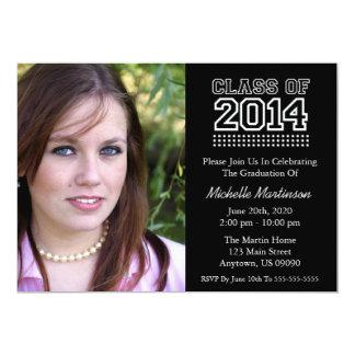 Varsity Class Of 2014 Graduation (Black) 5x7 Paper Invitation Card
