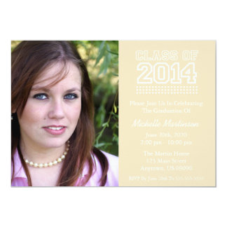 Varsity Class Of 2014 Graduation (Cream) 5x7 Paper Invitation Card