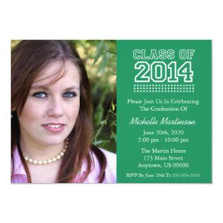 Varsity Class Of 2014 Graduation (Green) 5x7 Paper Invitation Card