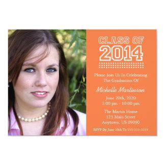 Varsity Class Of 2014 Graduation (Orange) 5x7 Paper Invitation Card