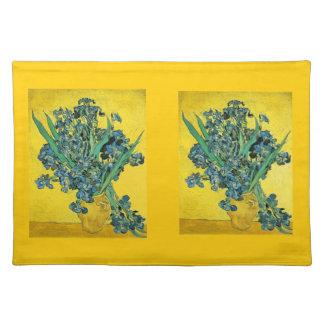 Vase of Irises on Yellow Placemat