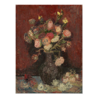 Vase with Chinese Asters and Gladioli by Van Gogh Photograph