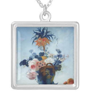 Vase with Flowers Silver Plated Necklace