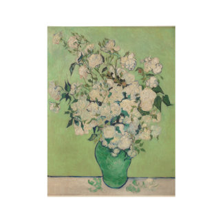 Vase with Roses - Vincent Van Gogh Wood Poster