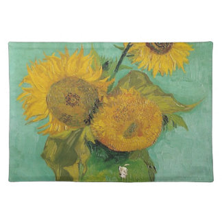 Vase with three sunflowers, Vincent van Gogh Placemat