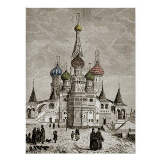 Vasili Cathedral Red Square Onion Dome Theotokos Poster