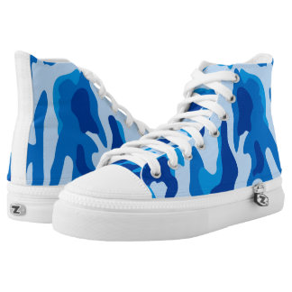 Vector Blue Camouflage Pattern High Tops