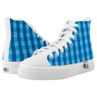 Vector blue check Pattern High Tops