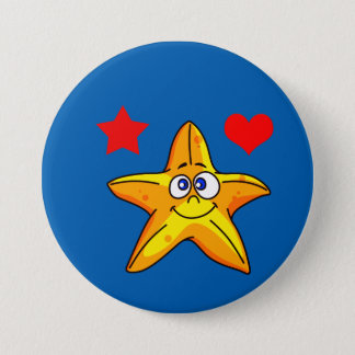 Vector Cartoon  Starfish with Heart and star 7.5 Cm Round Badge