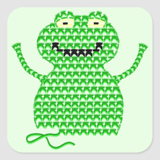 Vector Crochet Frog (Rip it, Frog it! -Green Back) Square Stickers