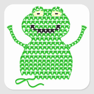 Vector Crochet Frog (Rip it, Frog it!) Square Stickers