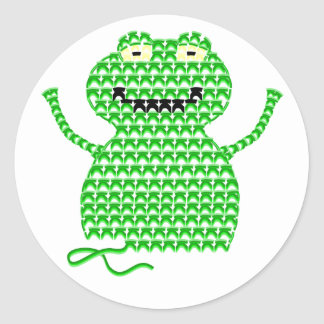 Vector Crochet Frog (Rip it, Frog it!) Round Stickers