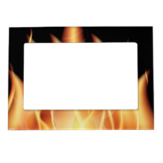 vector-flames1- HOT FIRE FLAMES BURING BLACK ORANG Magnetic Frame