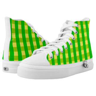 Vector Yellow and  green checked pattern High Tops
