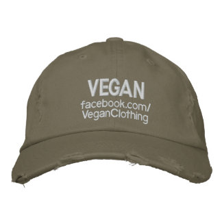 VEGAN Distressed Wht Embroidered Hat