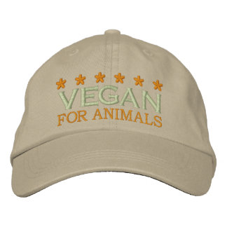 VEGAN FOR ANIMALS EMBROIDERED HAT
