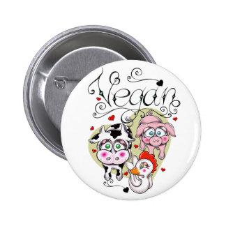 Vegan friends 6 cm round badge