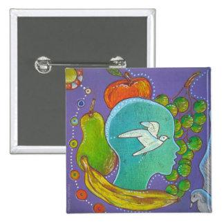 Vegan fruits liberty swipes in 15 cm square badge