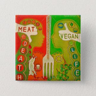 Vegan life - meatus death swipes in 15 cm square badge